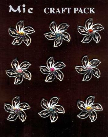 9 Silver Metal & Gems Flower Toppers